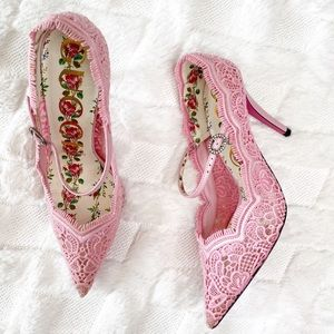 GUCCI Lace Mary Jane heels